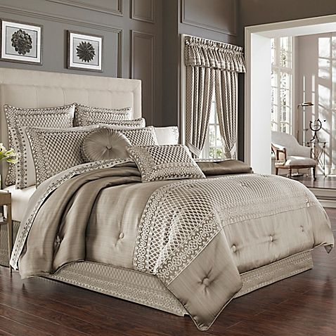 The Bohemia Comforter Set from J. Queen New York is pieced with multiple geometric patterns in a glamorous champagne color, all embroidered on a puff-textured fabric that will give your bedroom an aura of luxury and opulence.
