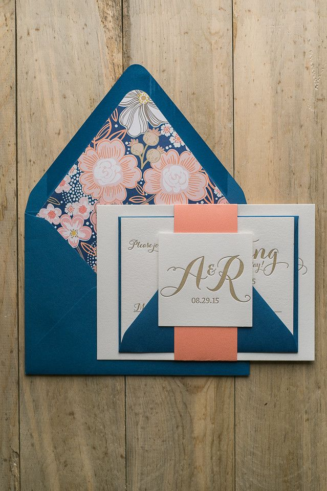 TIFFANY Suite Floral Package, Navy and coral wedding invitations, letterpress wedding invitations, floral envelope liners, calligraphy wedding invitations