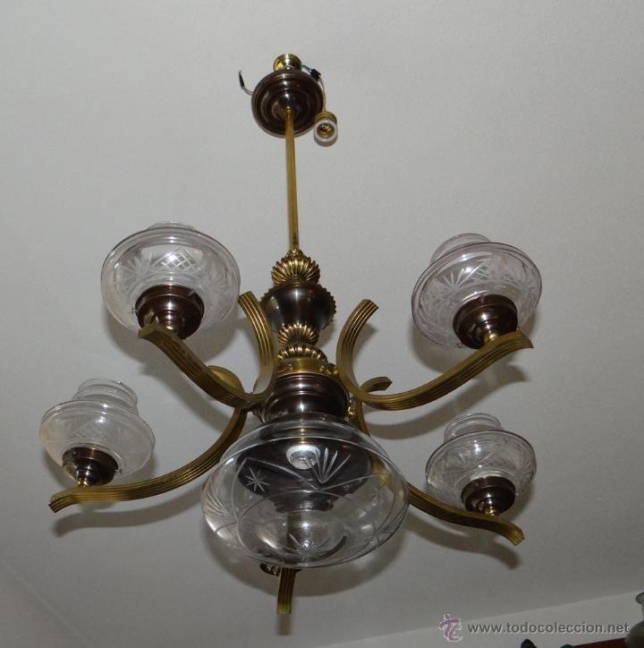 Antigüedades: ANTIGUA LAMPARA. BRONCE LATON Y CRISTAL TALLADO. SEIS LUCES. - Foto 8 - 43285096