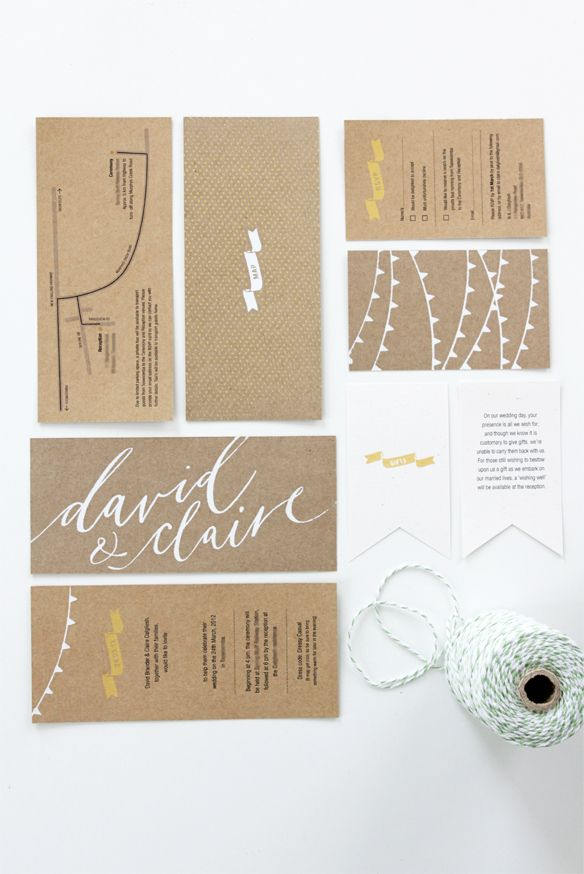 kraft paper wedding invitation suite with white ink