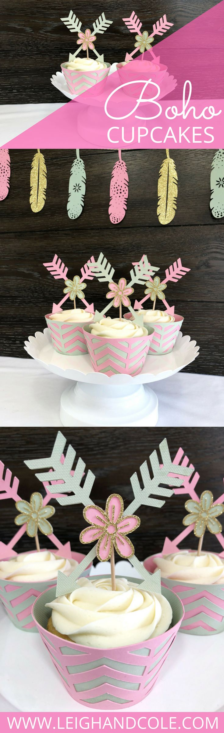 Nothing says bohemian baby shower or party like these pink, mint, and gold glitter cupcake toppers and chevron cupcake wrappers! Your dessert station isn't complete without these stunning tribal-inspired decorations featuring arrows, flowers, and chevrons.