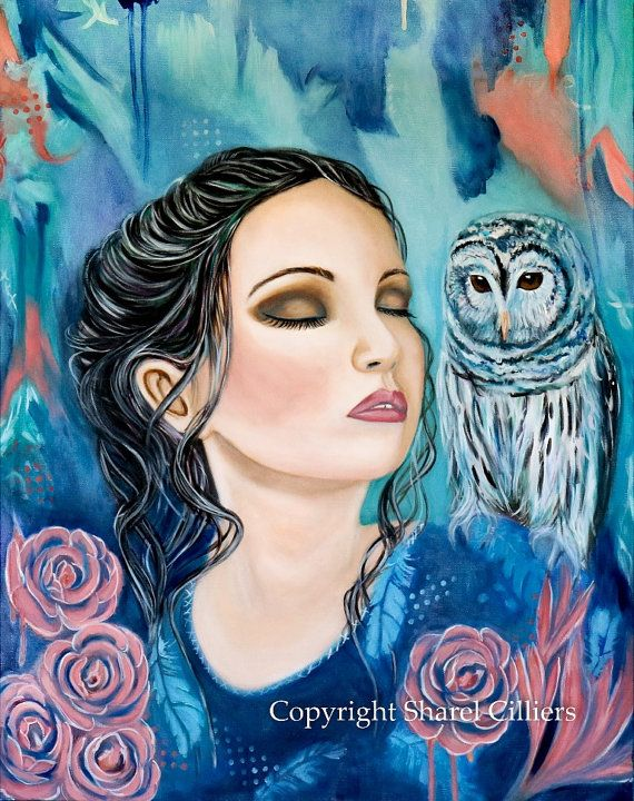Women and owl oil painting Athena and the owl by SharelCilliers