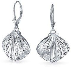Bling Jewelry 925 Silver Nautical Filigree Seashell Leverback Earrings.
