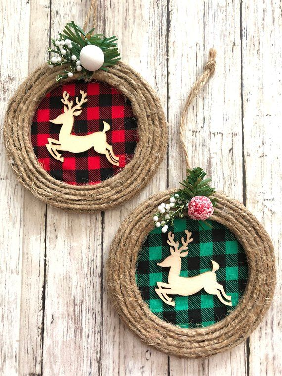 Reindeer Christmas Ornaments / Set of 2 Different / Christmas Rustic Reindeer Ornaments / Buffalo – Burlap Reindeer Ornaments / Handmade
