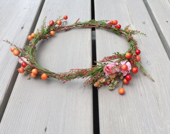 Fall Floral Crown Autumn Flower Crown Red & by jewelfeathers