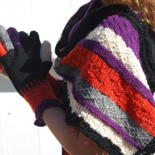 Pattern number 61. Knitted scrap yarn shawl and gloves