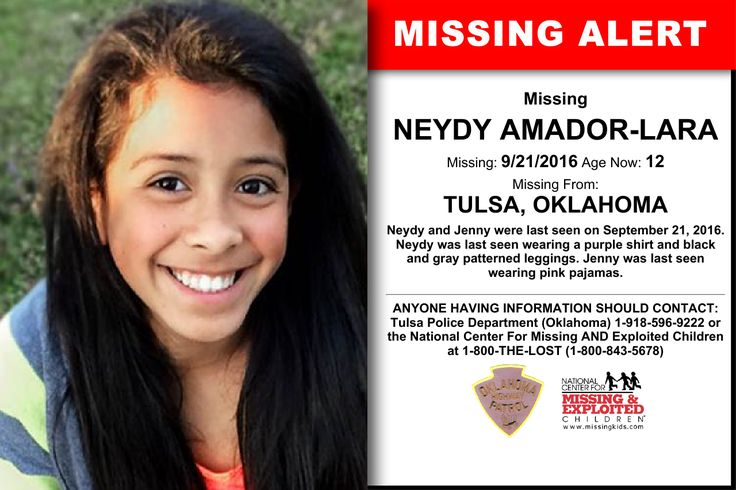 NEYDY AMADOR-LARA, Age Now: 12, Missing: 09/21/2016. Missing From TULSA, OK. ANYONE HAVING INFORMATION SHOULD CONTACT: Tulsa Police Department (Oklahoma) 1-918-596-9222.