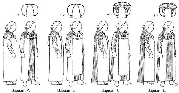 Apron dress versions based on valkyrie figurines