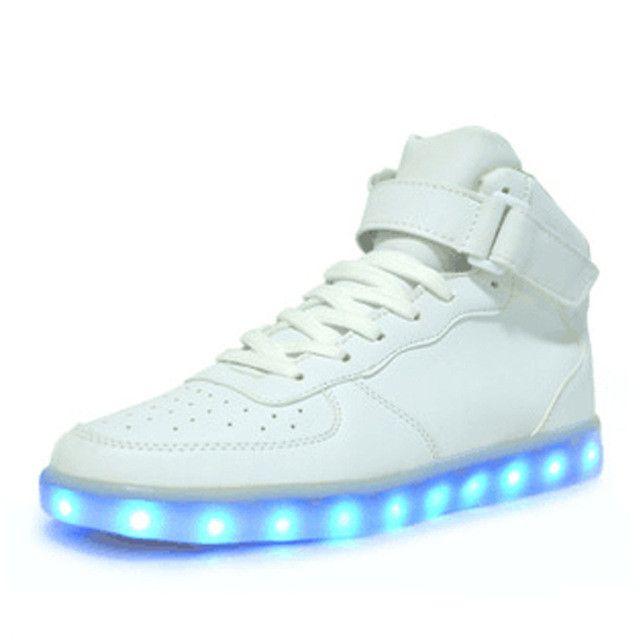 (Present:kleines Handtuch)Weiß EU 38, Changing Charging USB Sneakers Women Sneakers Luminous Sport JUNGLEST® High Unisex Top Color Couple Flash Sh