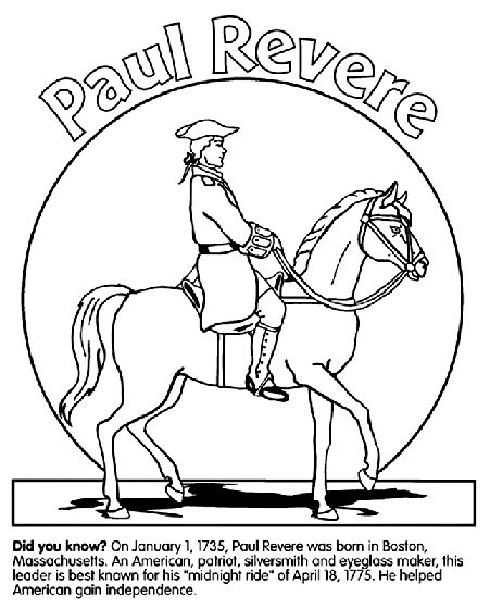 Cc cycle 3 week 4 Paul Revere coloring page also thomas Jefferson and Benjamin Franklin