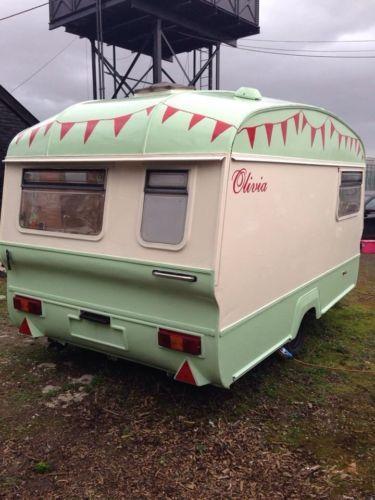 Cotswold Windrush refurbished shabby chic vintage retro glamping caravan pretty