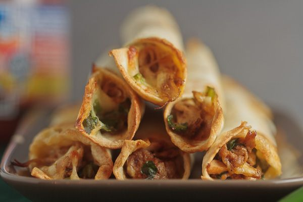 Baked Chicken and Spinach Flautas   Healthy. Delicious.