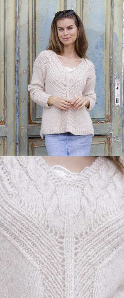 To the Point Cable and V-Neck Sweater Free Knitting Pattern   Free ...