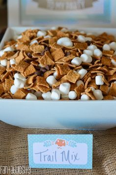 Seriously!?  That's so easy and looks amazing!  Woodland Friends First Birthday Party Smores Trail Mix http://fantabulosity.com