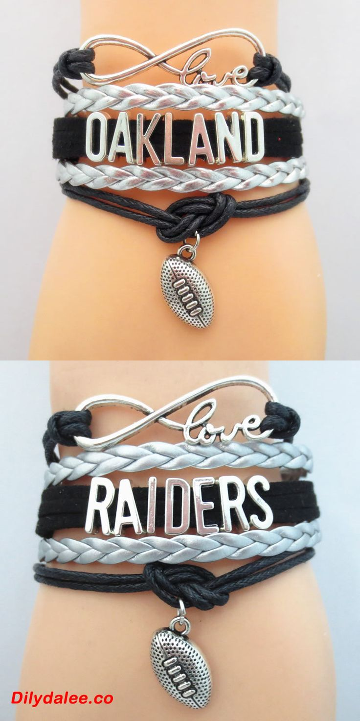 Infinity Love Oakland Football - Show off your teams colors! Cutest Love Oakland Bracelet on the Planet! Don't miss our Special Sales Event. Many teams available. www.DilyDalee.co