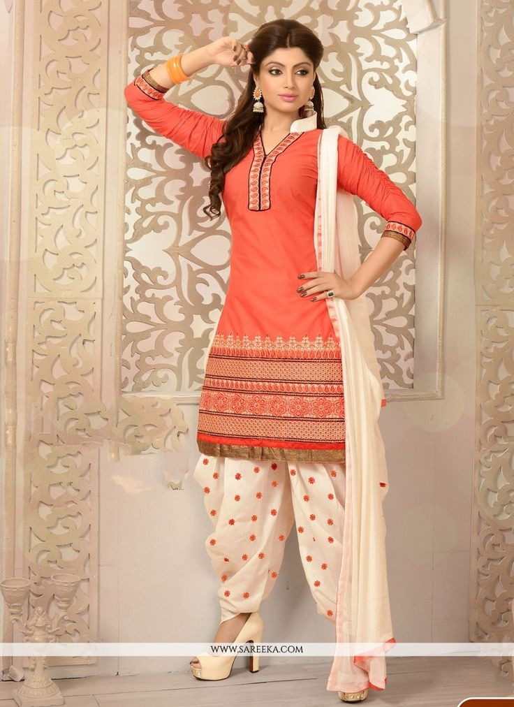 Latest Peach Cotton Punjabi Suit