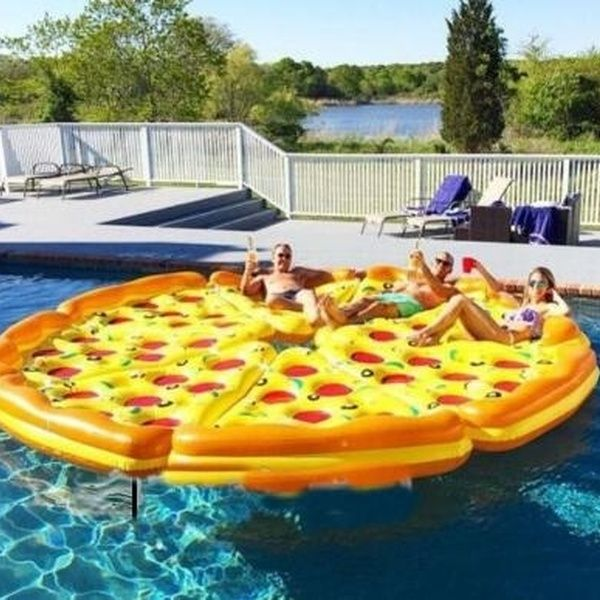 Entertainment Water Sports Floats Giant Inflatable Pizza Floats 1.8m Inflatable Ride-On Pool Float Toy Pizza Air Mattress