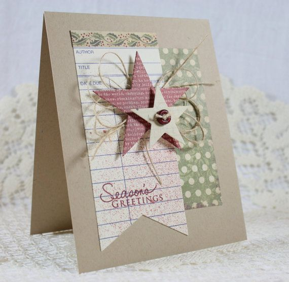 Christmas card using cream library card...