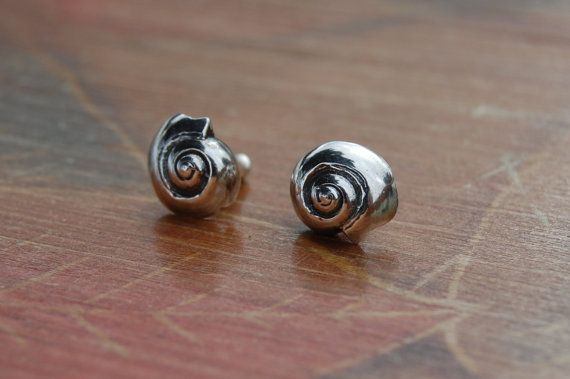 Silver Nautilus Studs by DiannaBDesigns on Etsy