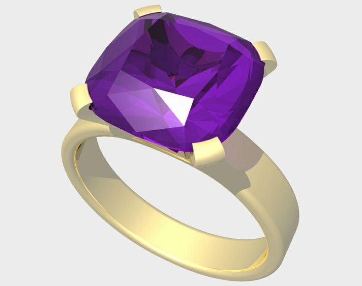 Purple sapphire  cushion cut