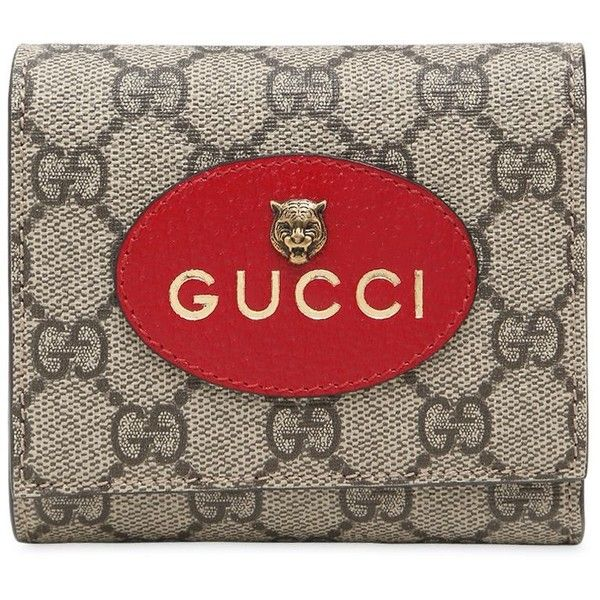 Gucci Women Small Neo Vintage Gg Supreme Wallet (2438475 PYG) ❤ liked on Polyvore featuring bags, wallets, taupe, red bags, gucci wallet, snap closure wallet, gucci bags and vintage bags