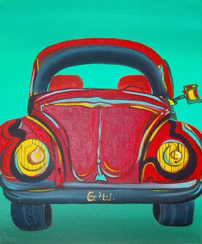 VW Beetle - Painting and Oracle  - Acrylic by Giselle