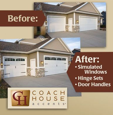 Coach House Accents' Décor Windows for garage doors. Mimicking the look of real windows, these decorative windows are constructed of automotive-grade plastic with an opaque Plexiglas to improve curb appeal without compromising on safety and security.