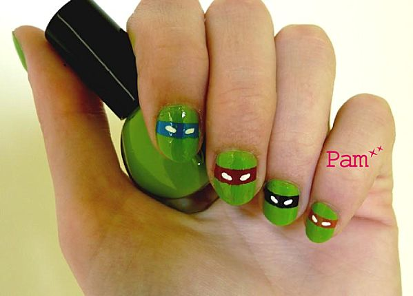 Ninja turtles nails. Cayson would love if I had my nails like this!