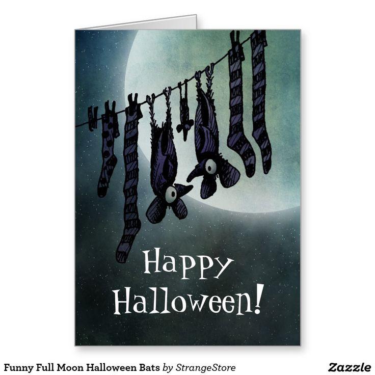 Funny Full Moon Halloween Bats Greeting Card