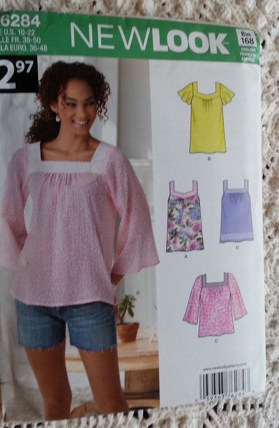 Misses Hipster Top Pattern Newlook A6284 Misses Plus size Tunic Tops Misses Size 10 to 22 New Uncut Pattern