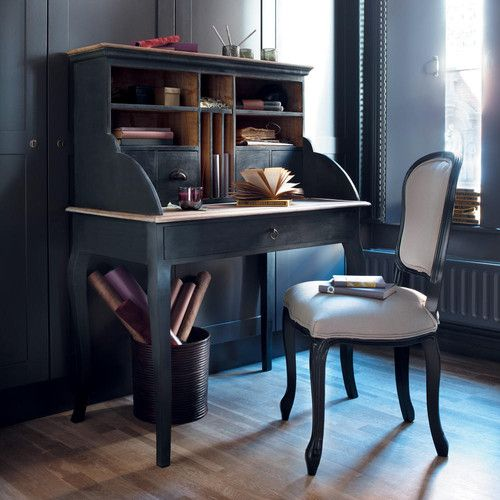 Scrivania secrétaire nera in legno L 102 cm