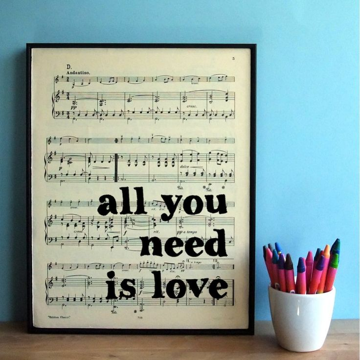 Bookishly All You Need is Love The Beatles Framed Sheet Music Page