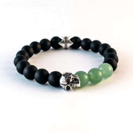 The Warrior Prince - 10mm Matt Onyx and Aventurine featuring Solid 925 Silver Eli Skull and Crown finished in aged silver. #jrlife