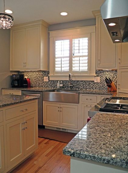Subway Tile Backsplash Kitchen Remodeling Ideas For Kitchens Azul Platino Countertop With White Cabinets. Hate The Busy ...
