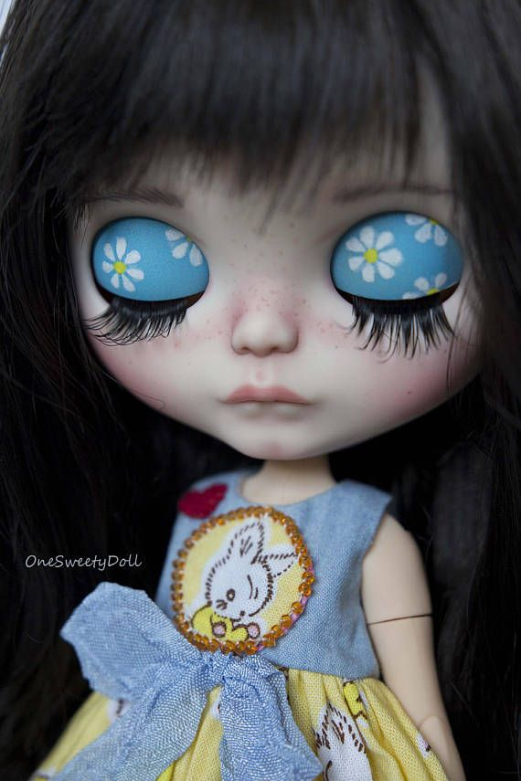 April RBL Blythe factory custom OOAK dark brow hair