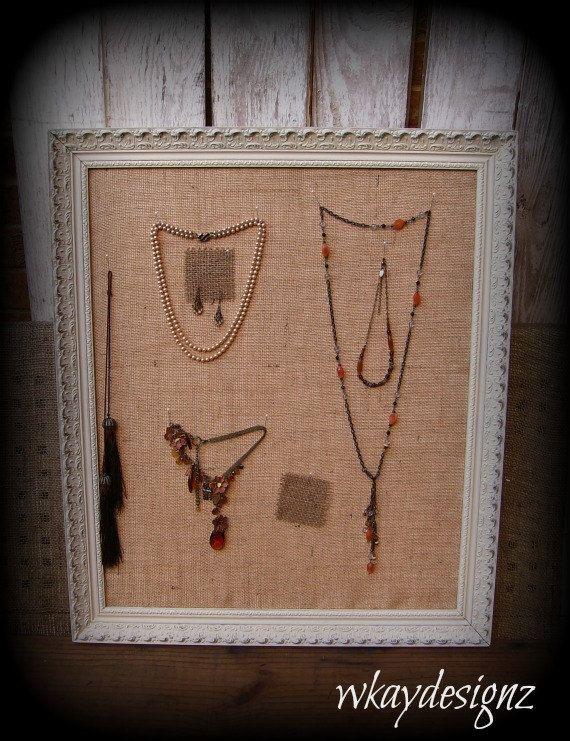 Shabby Chic Bulletin Board Jewelry Display Burlap Pin