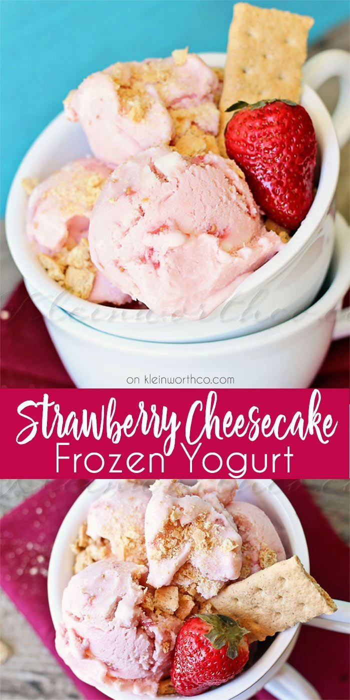 Strawberry Cheesecake Frozen Yogurt is an easy summer recipe packed full of delicious cheesecake & strawberry flavors. It will be your new favorite dessert. via @KleinworthCo