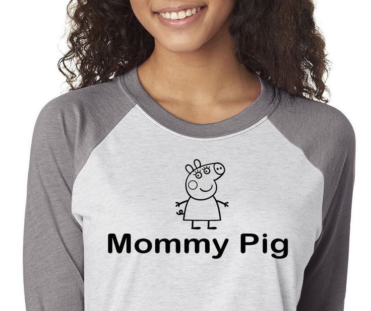 Mommy Pig Shirt,Trebled 3/4 Sleeve Raglan Tees, H Gray ,Mom Shirt,Birthday Shirt, Birthday Gift, Vintage Age,Mommy Shirt,