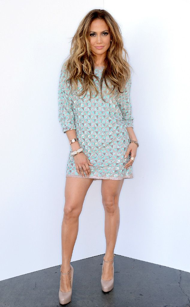 Shine Bright from Jennifer Lopez's American Idol Looks.  J.Lo was spotted outside the FOX studios in an embellished Lorena Sarbu tunic dress and Brian Atwood pumps.