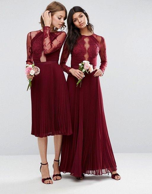Fall Wedding ideas   ASOS WEDDING Pretty Lace Eyelash Pleated Midi Bridesmaid Dresses