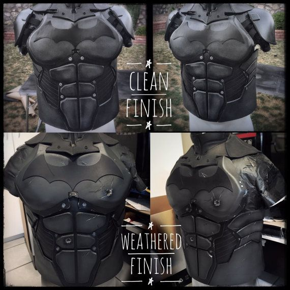 Batman Costume based off the Arkham Origins game. The costume pieces are lightweight, have adjustable harnessing and are hand crafted out of EVA Foam. Perfect for any Batman fan looking for a unique costume sure to wow the crowd!  Included items: • Torso (chest,abs,ribs, back and shoulders) • Bicep/Tricep • Gauntlets • Belt with resin cast buckle, pouches and capsules (please specify color choice GOLD or GREY) • Thigh Guards • Boot/Knee Guards(minimal assembly required as knee piece comes…