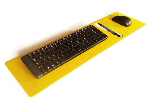 Bousepad is a laser cut felt colorful desk mat with a keyboard rest, mouse pad and a pen holder.  This office desk accessory will help you to keep all you need for work org... #mousepad
