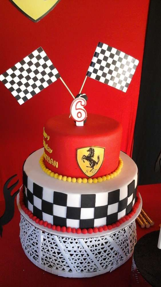 Ferrari birthday party cake! See more party planning ideas at CatchMyParty.com!