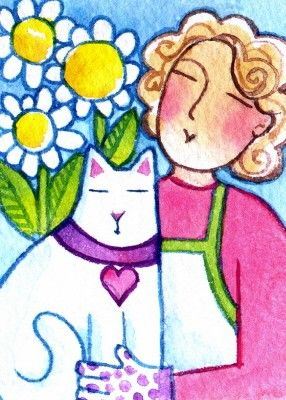 """White Cat & Garden Goddess"" Original ACEO Watercolor Painting by Susan Faye -'SusanFayePetProjects' on Etsy★❤★"