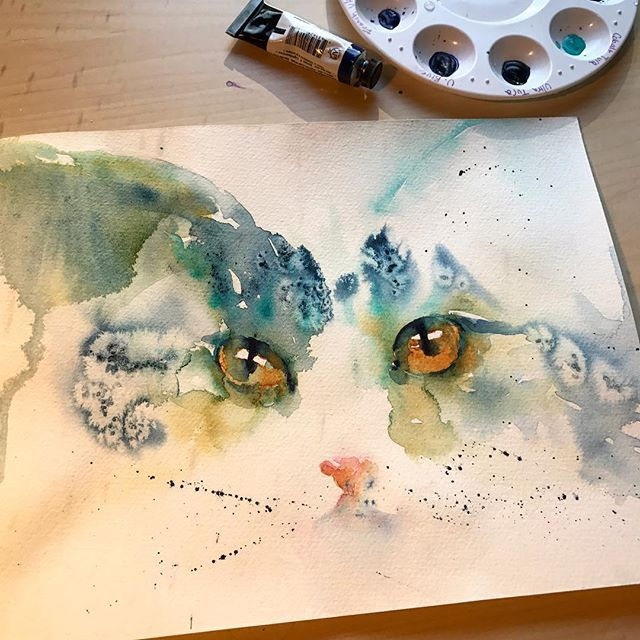Planned to paint more birds today, but apparently my inner feline needed to come out. Warming up with cool colors and look who appeared  Do you warm up before an art session?  #paintingoftheday #catlove . . . . (inspired by @lazywonderbrush ). . . . #watercolor #watercolour #waterblog #watercolour_gallery #creativelifehappylife #creative_animalart #creative #cat #petportrait #catsofinstagram #catstagram #petart #animalillustration #12monthsofpaint #worldwatercolorgroup #art_spotlight…