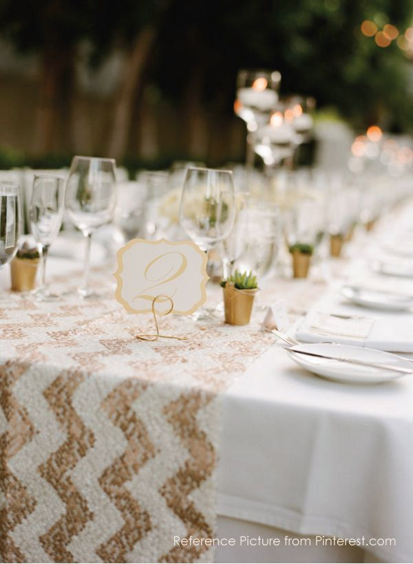 Sequin Table Runner Sparkly Chevron White Amp Rose Gold
