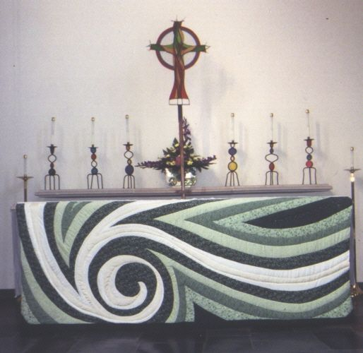 Altar cloth for Ordinary Time. The swirling of creation.