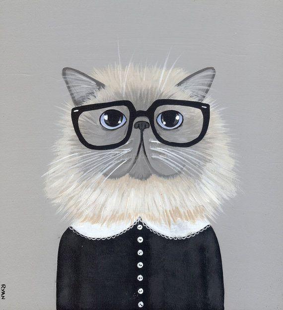 Hipster Persian Cat Original Folk Art Painting by KilkennycatArt