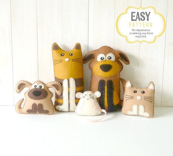 Cat and Dog Sewing Patterns, Felt Cat Dog Kitten Puppy & Mouse, Pet Stuffed Animals, Dog Softie Pattern, Cat Softie Pattern