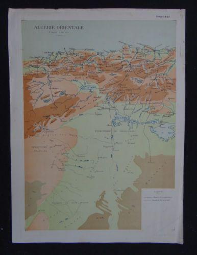 Carte-ALGERIE-ALGERIA-AFRICA-map-carta-cours-geographie-ECOLE-MILITAIRE-1931